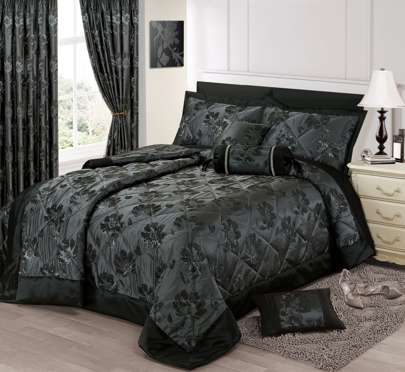 Black And Silver Bed Black Silver Colour Stylish Floral Jacquard Luxury