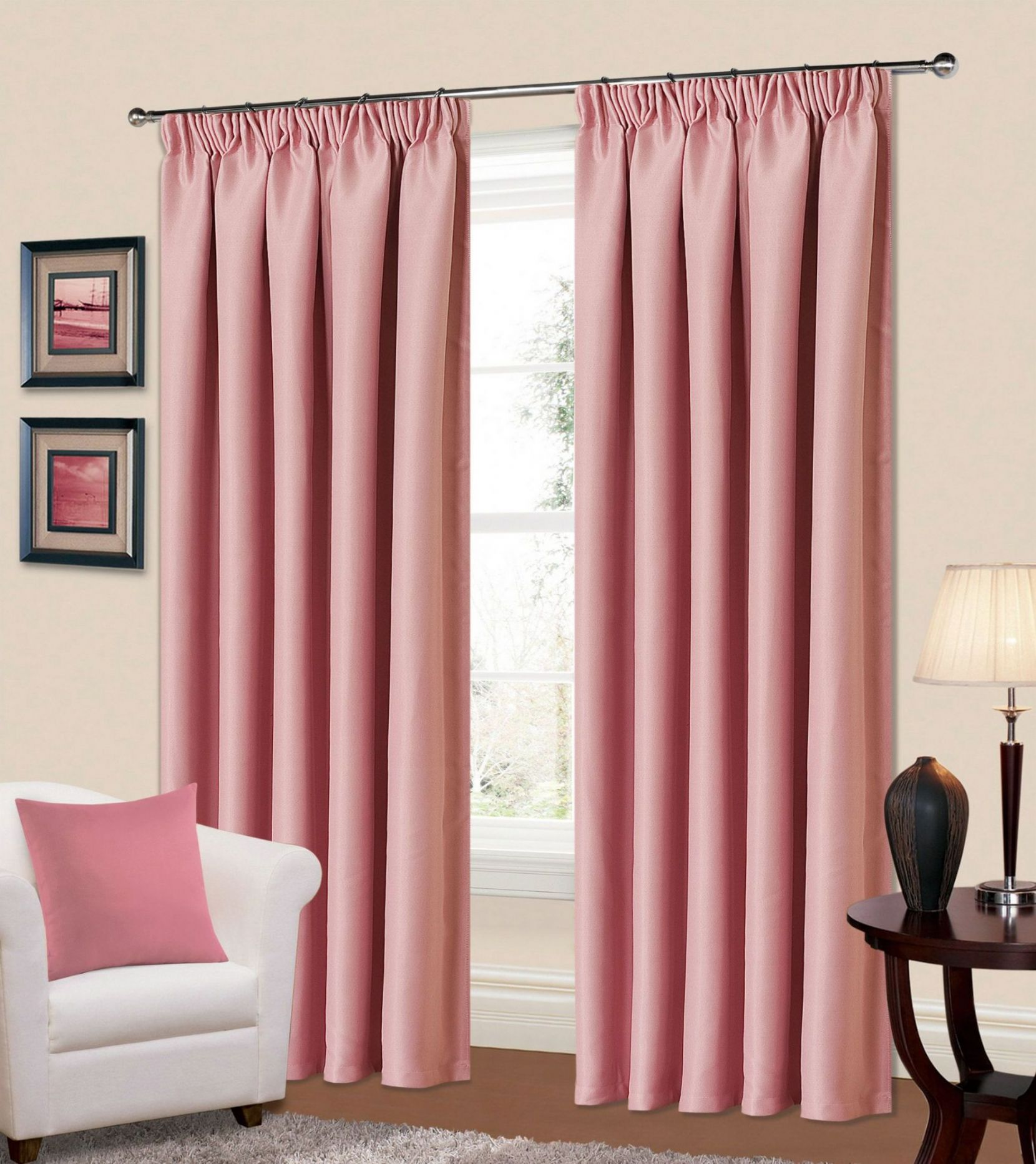 Ready Made Curtains 108 Drop Plain Baby Pink Colour Thermal Blackout Bedroom Livingroom