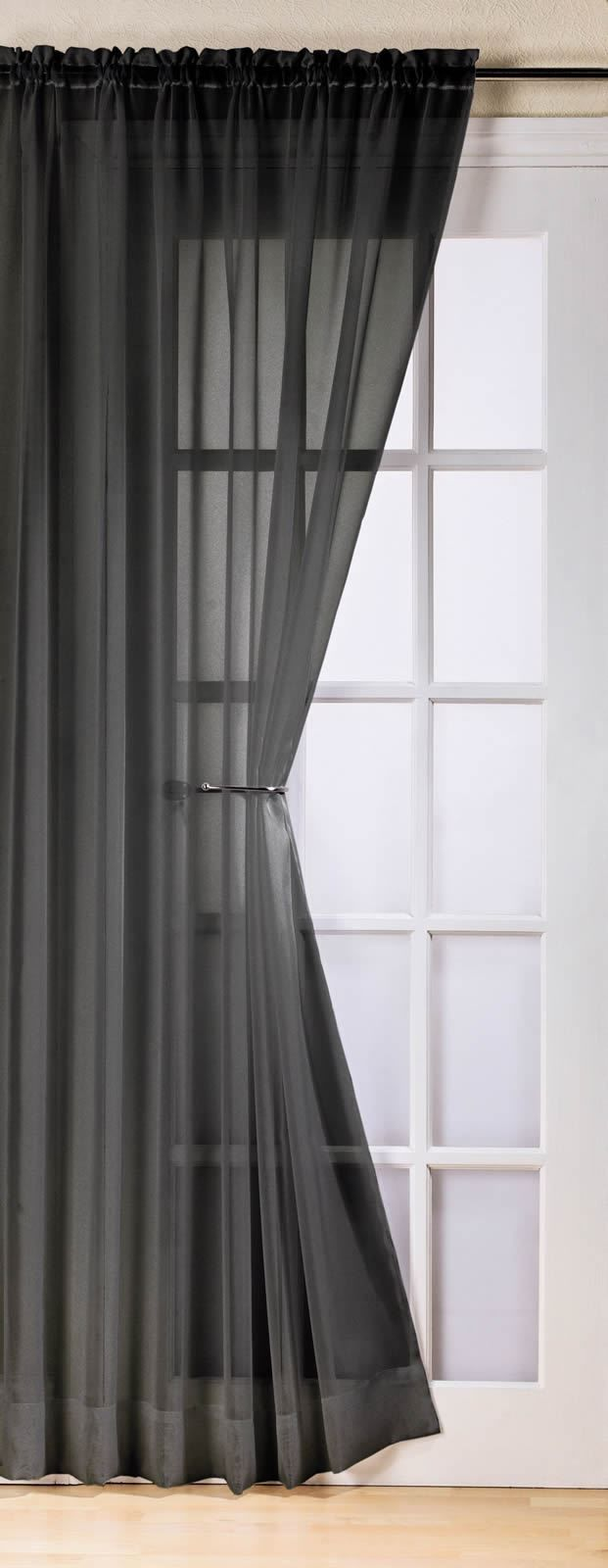 Black Voile Curtains Plain Black Colour Slot Top Ready Made Stylish Light Net Voile Curtain