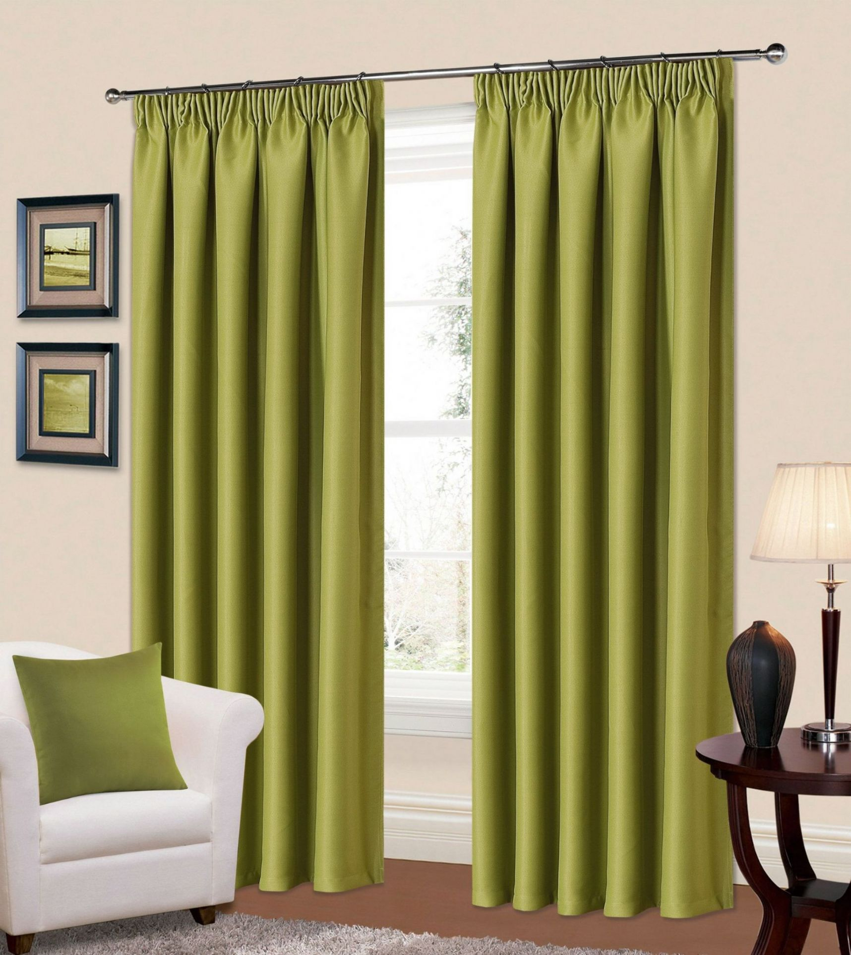 Ready Made Thermal Curtains Plain Green Colour Thermal Blackout Readymade Bedroom Livingroom