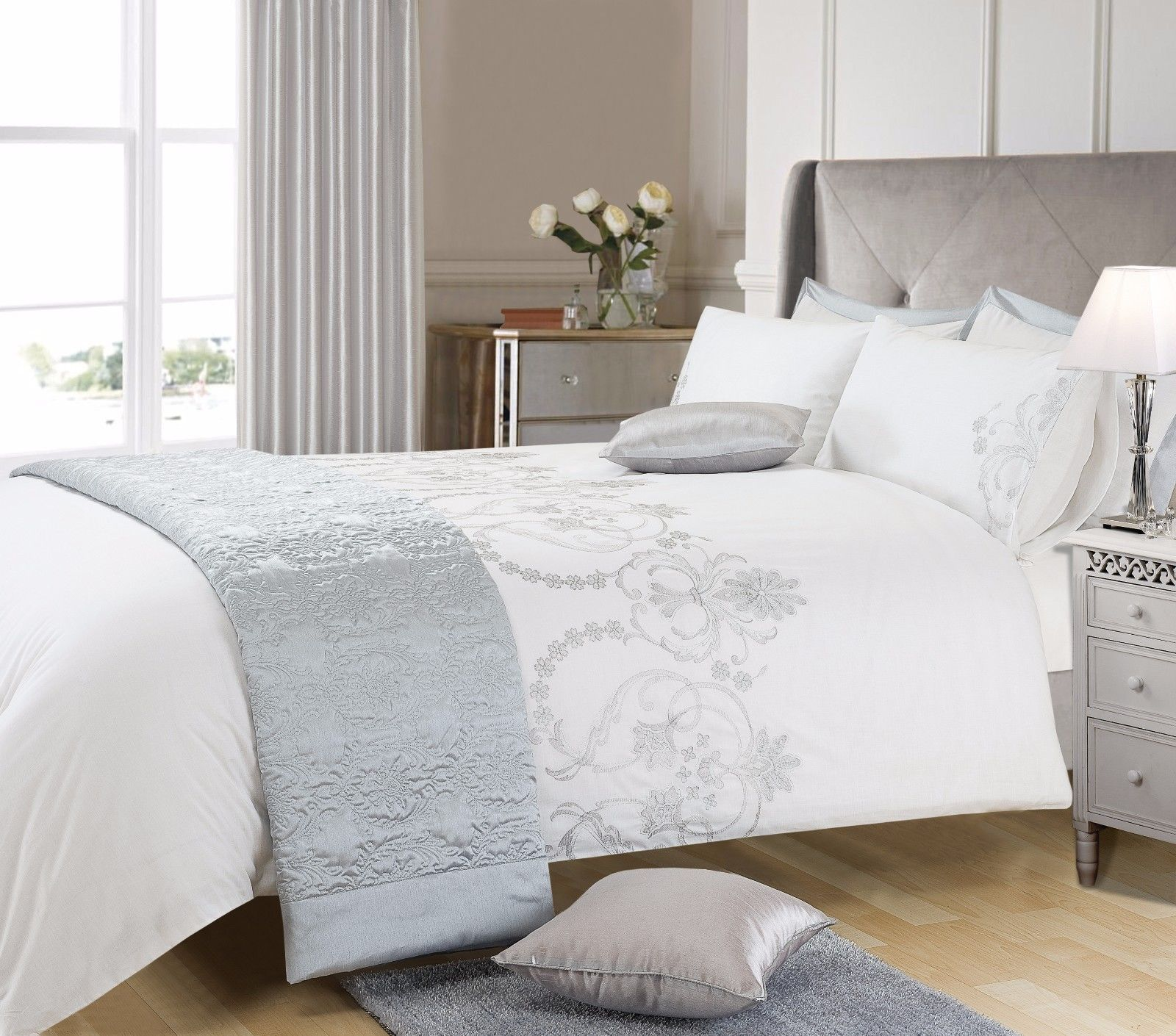 White Duvet Cover King White Grey Silver Colour Stylish Embroidered Duvet Cover