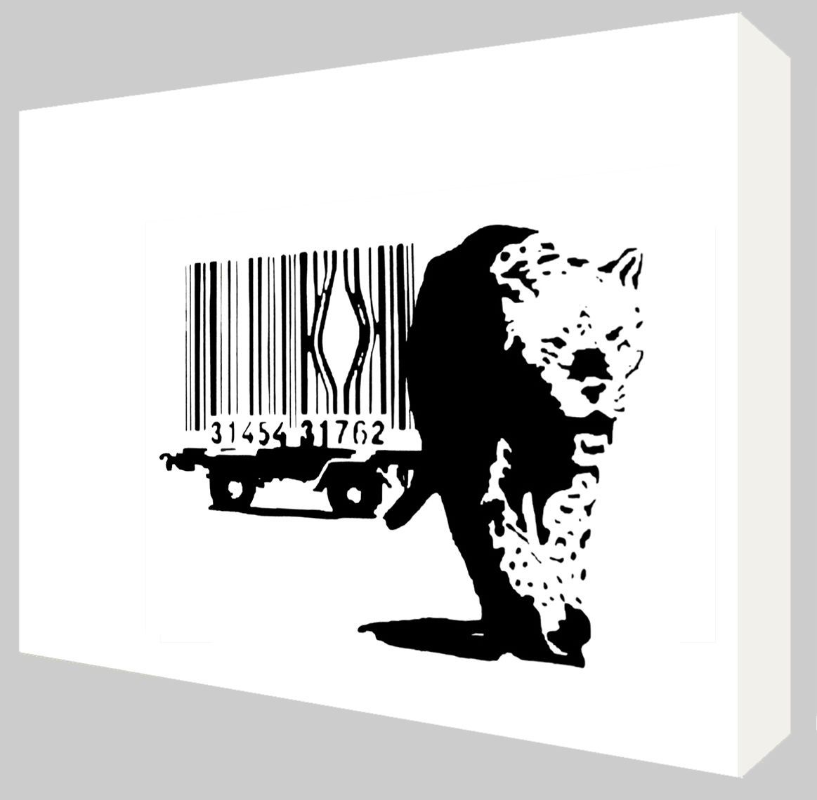 Banksy Canvas Art Banksy Barcode Leopard Canvas Art Choose Your Size Ready To Hang
