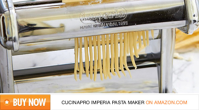 CucinaPro Imperia Pasta Maker with Wooden Grip on Amazon