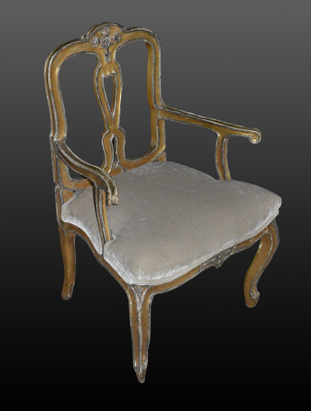 Pair Of Italian Rococo Style Painted And Silvered Fauteuils