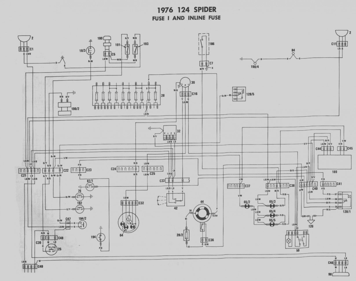 fiat 124 wiring diagram schematic