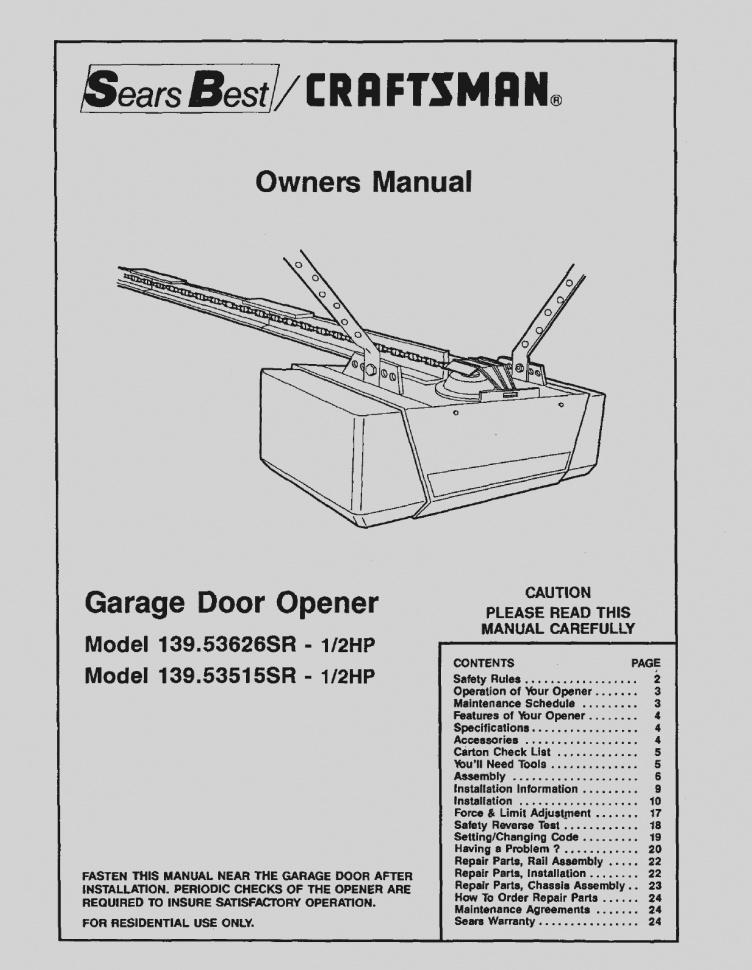 Craftsman 1 2 Hp Garage Door Opener Wiring Diagram Download Wiring