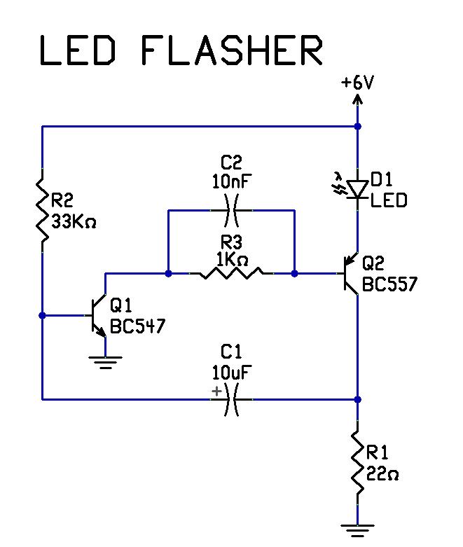 two transistor led flasher circuit diagram