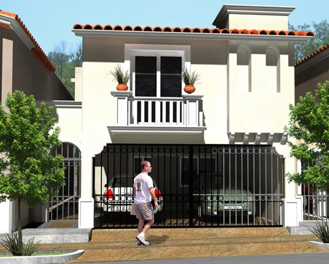 12 hermosas y modernas fachadas de casas con balc n for Fachadas de casas minimalistas con balcon
