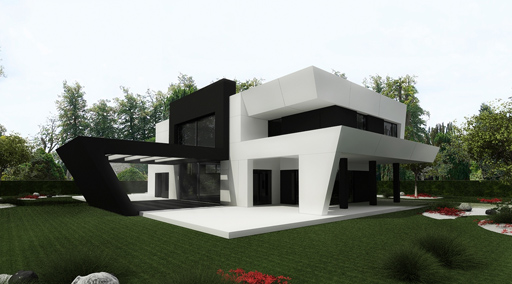 11 interesantes fachadas de casas modernas con p rgolas - Viviendas unifamiliares modernas ...