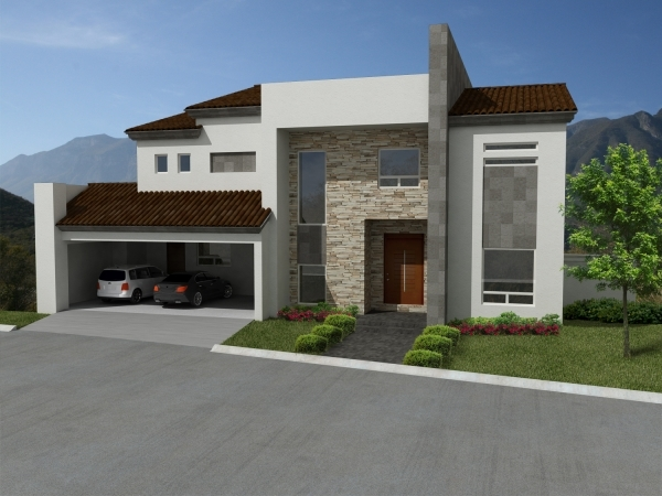 10 fachadas de casas modernas con lajas fachadas de for Casas minimalistas modernas con cochera subterranea