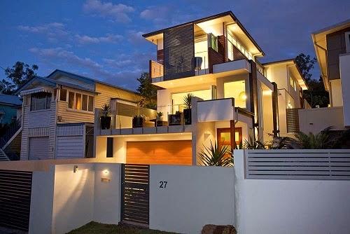 11 fachadas de casas modernas en desnivel fachadas de for Fachadas de casas modernas iluminadas