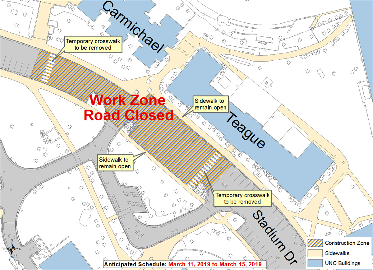 Drive Work Stadium Drive Will Close To Through Traffic March 11 15