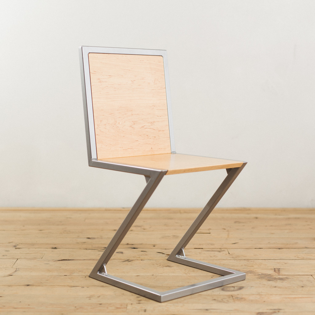 Modern Industrial Chair Maple And Powder Coated Steel Z Chair Factor Fabrication