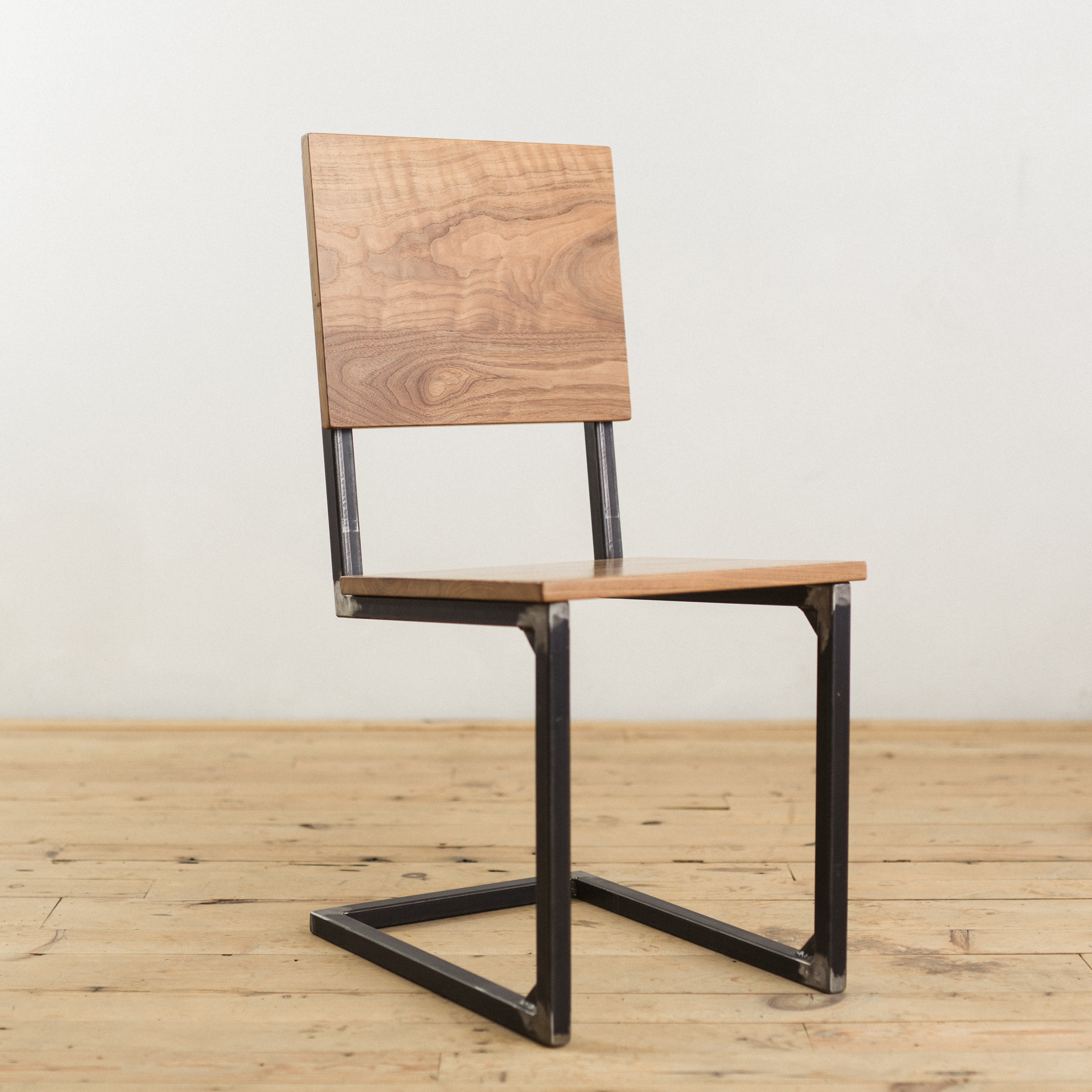 Modern Industrial Chair Walnut And Steel School House Chair Factor Fabrication