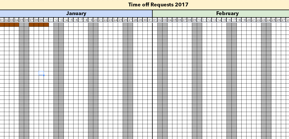 Managing holidays and time off requests with Excel Template 2018