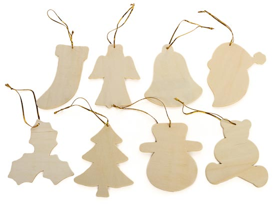 Wooden Christmas Ornaments - Wood Cutouts - Wood Crafts - Hobby