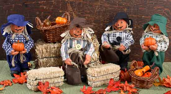 Free Fall Pumpkin Wallpaper 5 Quot Assorted Ceramic And Cloth Pumpkin Head Scarecrow