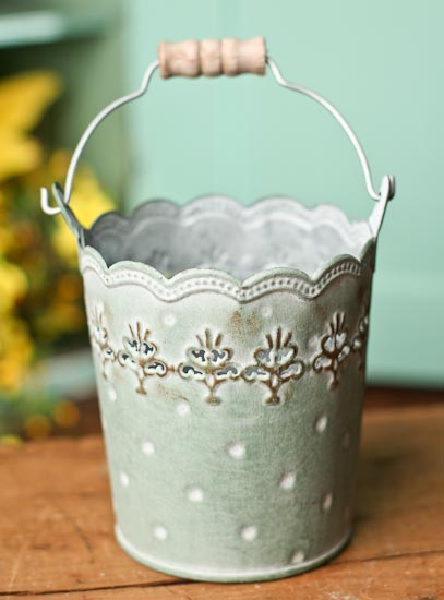 Shabby Shop Scalloped Edge Patina Metal Pail - Baskets, Buckets