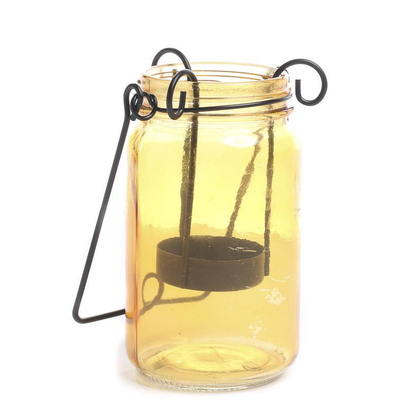 Amber Mason Jar Tea Light Candle Holder