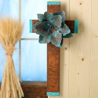 Turquoise and Rusty Tin Flower Wall Cross - Wall Decor ...