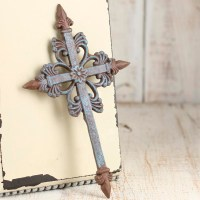 Turquoise and Rusty Tin Wall Cross - Wall Decor - Home Decor