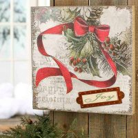 "Vintage-Inspired Christmas ""Joy"" Wall Art - Wall Art ..."