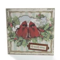 "Vintage-Inspired Cardinal ""Happy Holidays"" Wall Art - Wall ..."