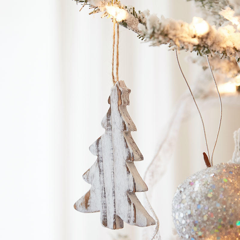 Rustic White Washed Wood Christmas Tree Ornament - Christmas