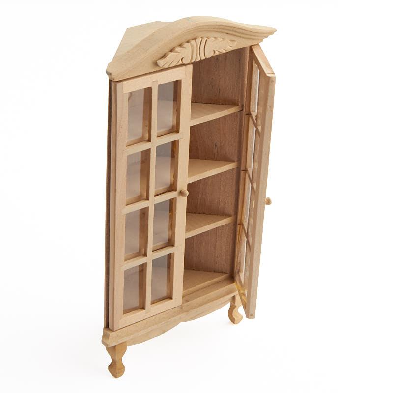 Miniature Unfinished Wood Corner Display Cabinet - Living Room - living room display cabinets