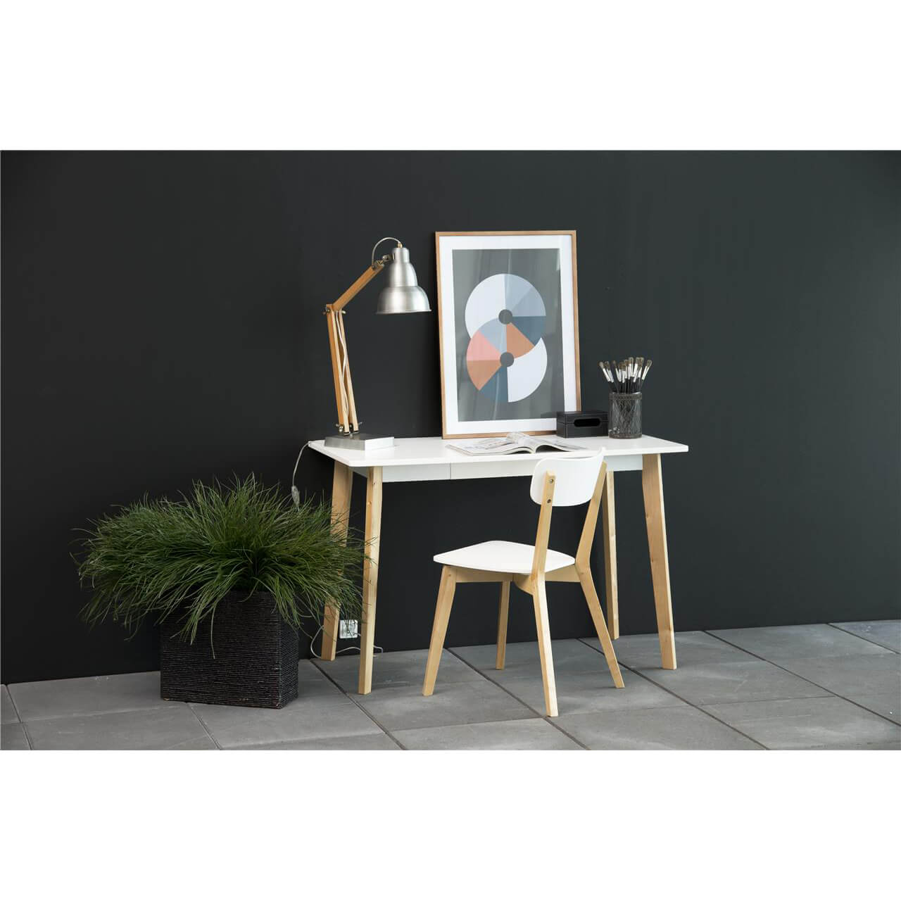 Scandi Style Raven Scandi Style Desk White Wooden And Birch Home Office