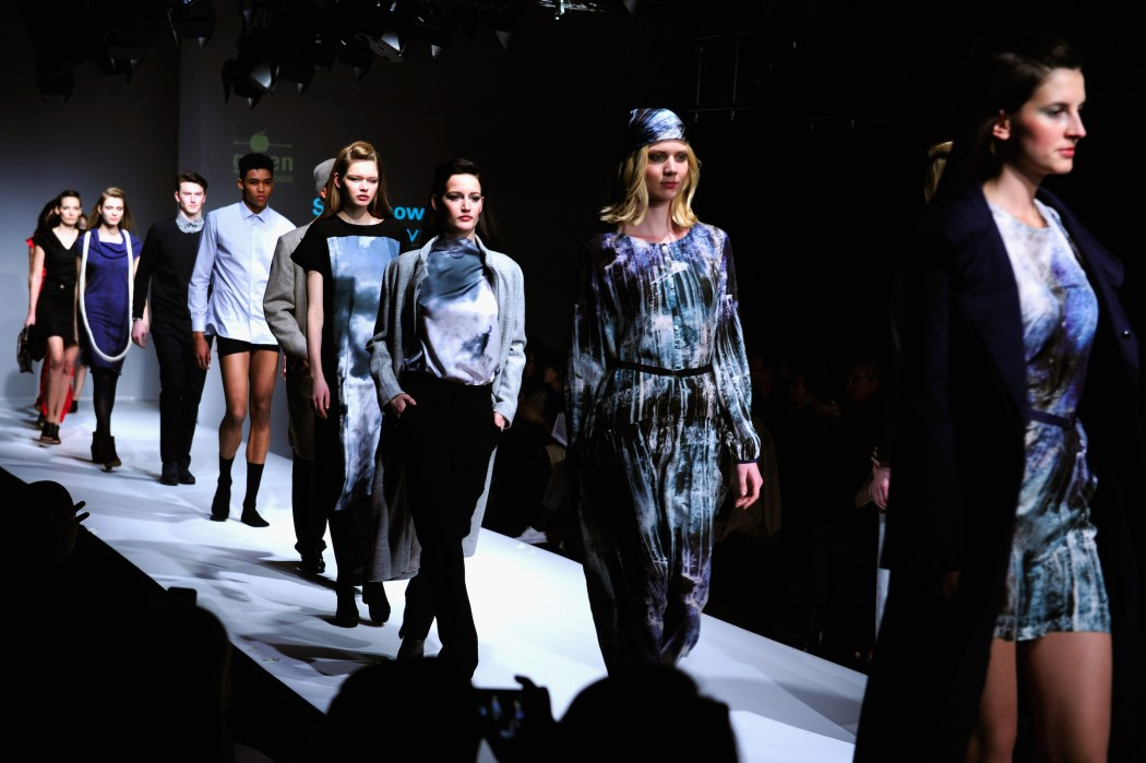 BERLIN, GERMANY - JANUARY 19:  Models walk the runway at the Greenshowroom show during the Mercedes-Benz Fashion Week Berlin Autumn/Winter 2016 at Postbahnhof on January 19, 2016 in Berlin, Germany.  (Photo by Alexander Koerner/Getty Images for Greenshowroom)