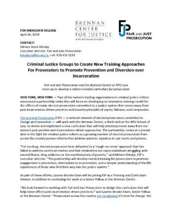 FJP Brennan Press Release FINAL - Fair and Just Prosecution