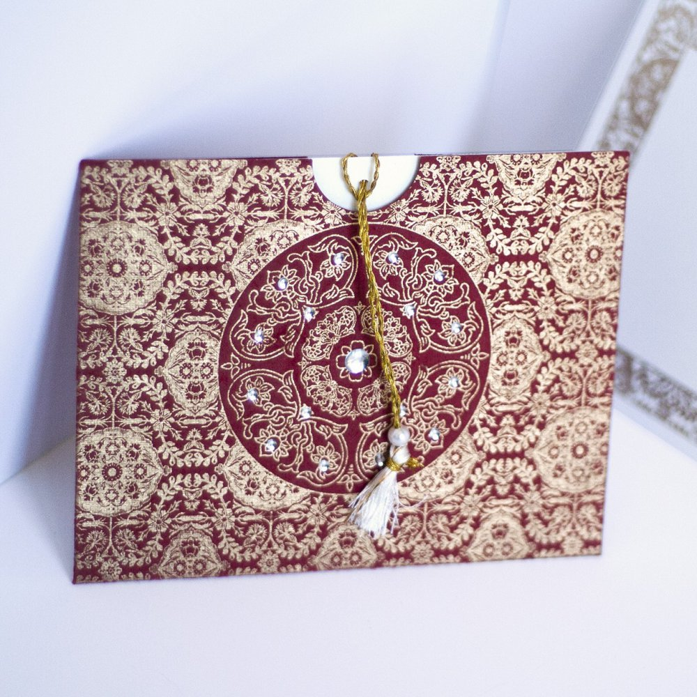 Table Ronde 90 Faire Part Oriental Et Arabe Chic En Forme De Pochette