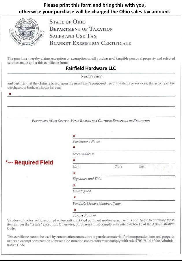 Fairfield Hardware Ohio Tax Exemption Form - tax exemption form