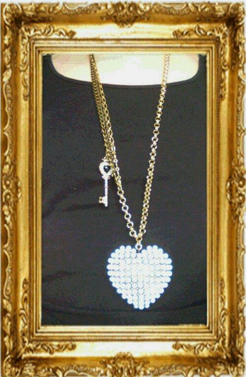 långt halsband nyckel hjärta