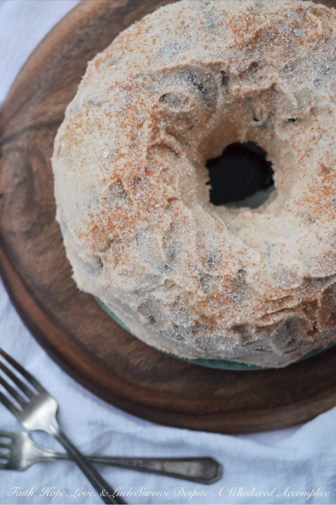 Cinnamon Apple Jelly Donut Cake | Faith, Hope, Love, and Luck Survive Despite a Whiskered Accomplice