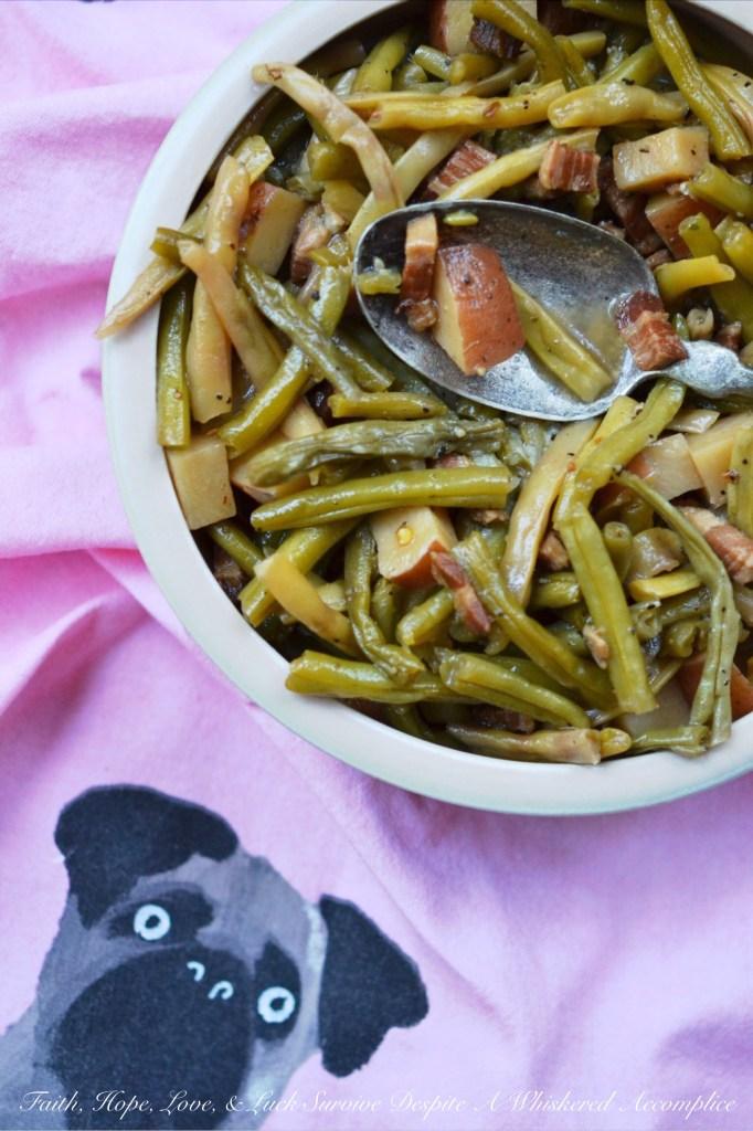 Salt Pork Summer Crockpot Green Beans | Faith, Hope, Love, and Luck Survive Despite a Whiskered Accomplice