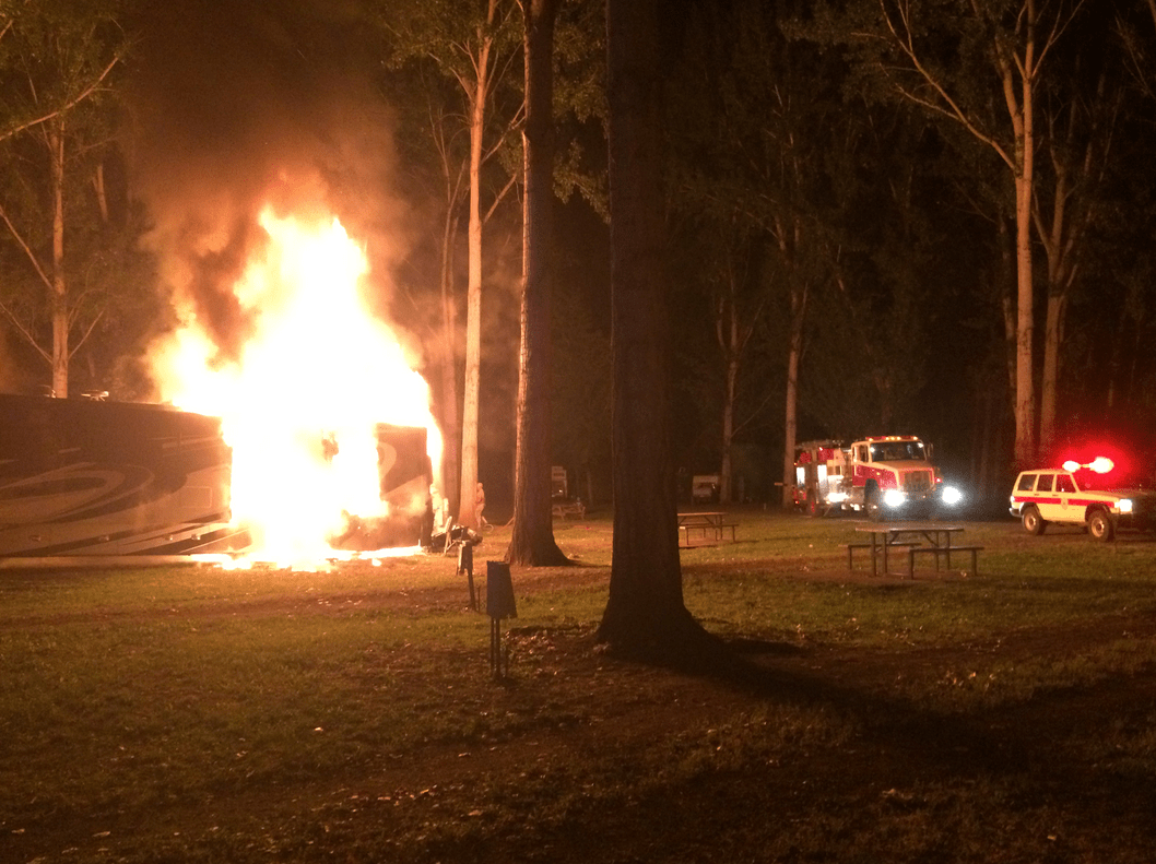 RV catches on fire