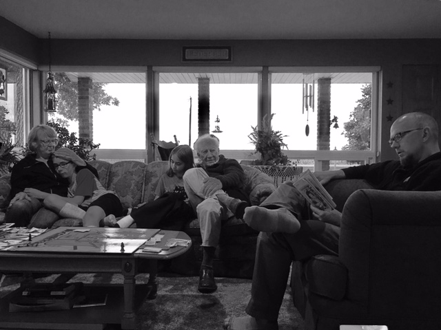 Grandma, Grandpa and the rest of us enjoying our evening story together.