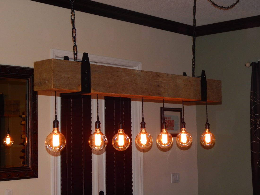 Industrial Kitchen Island For Sale Reclaimed Wood Beam Chandelier With Edison Globe Lights