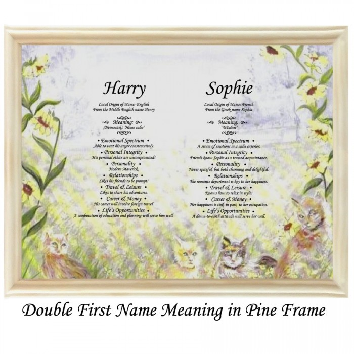 Double First Name Meaning Cats and Flowers background