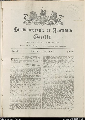 Gazette from National Library of Australia