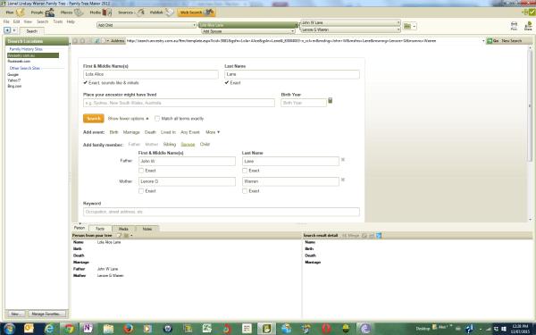 Websearch Tab in Family Treemaker
