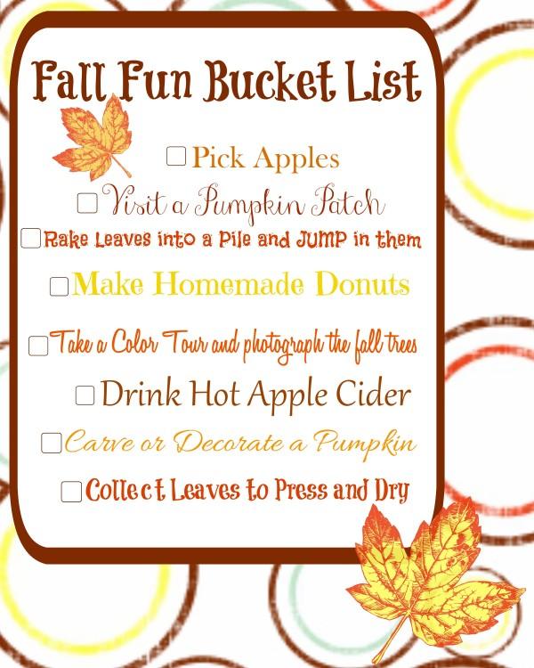 Fall Fun Bucket List Printable- Family Fall Activities