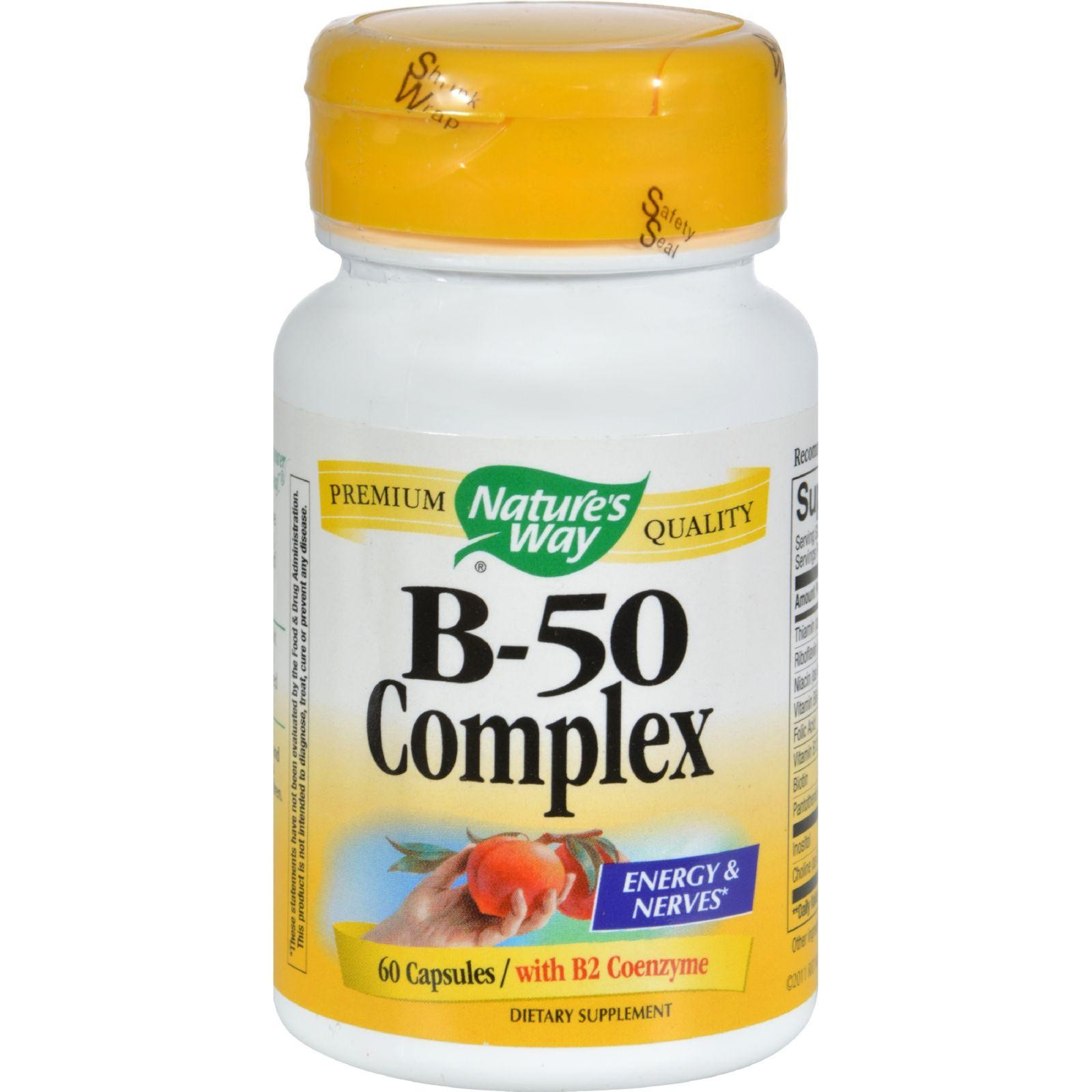Foods Vitamin B 50 Nature S Way Vitamin B 50 Complex 60 Capsules Family Green