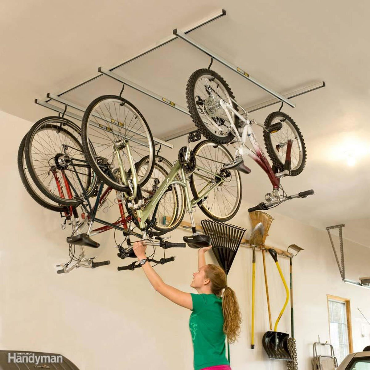 Tidy Garage Bike Rack Installation 51 Brilliant Ways To Organize Your Garage The Family Handyman
