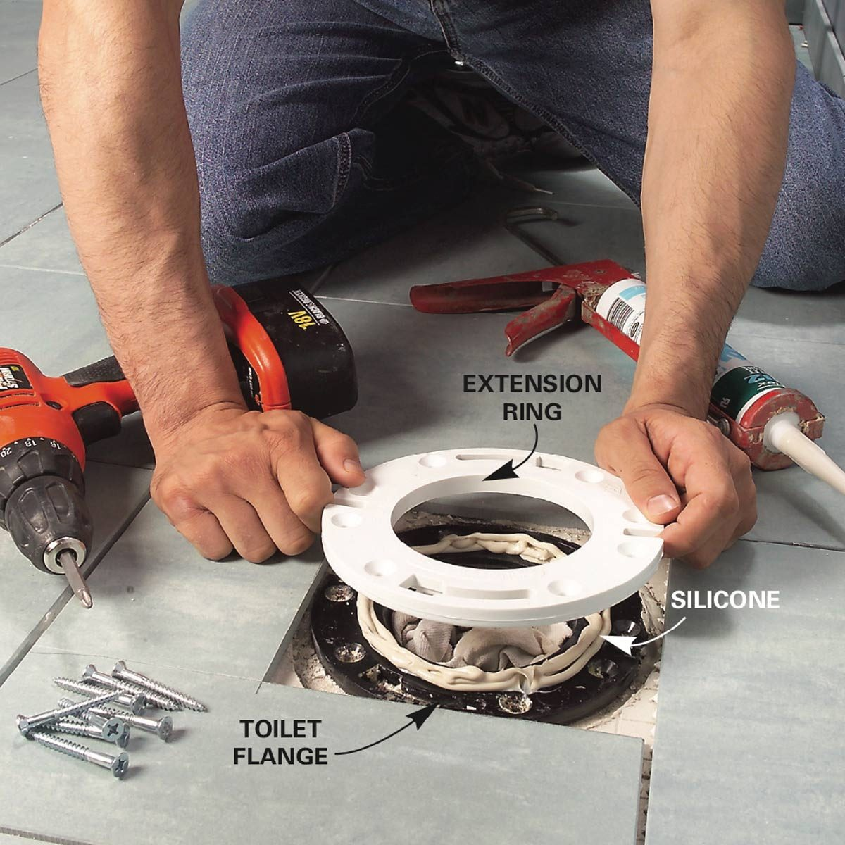 Install A Toilet How To Lay Tile Install A Ceramic Tile Floor In The Bathroom