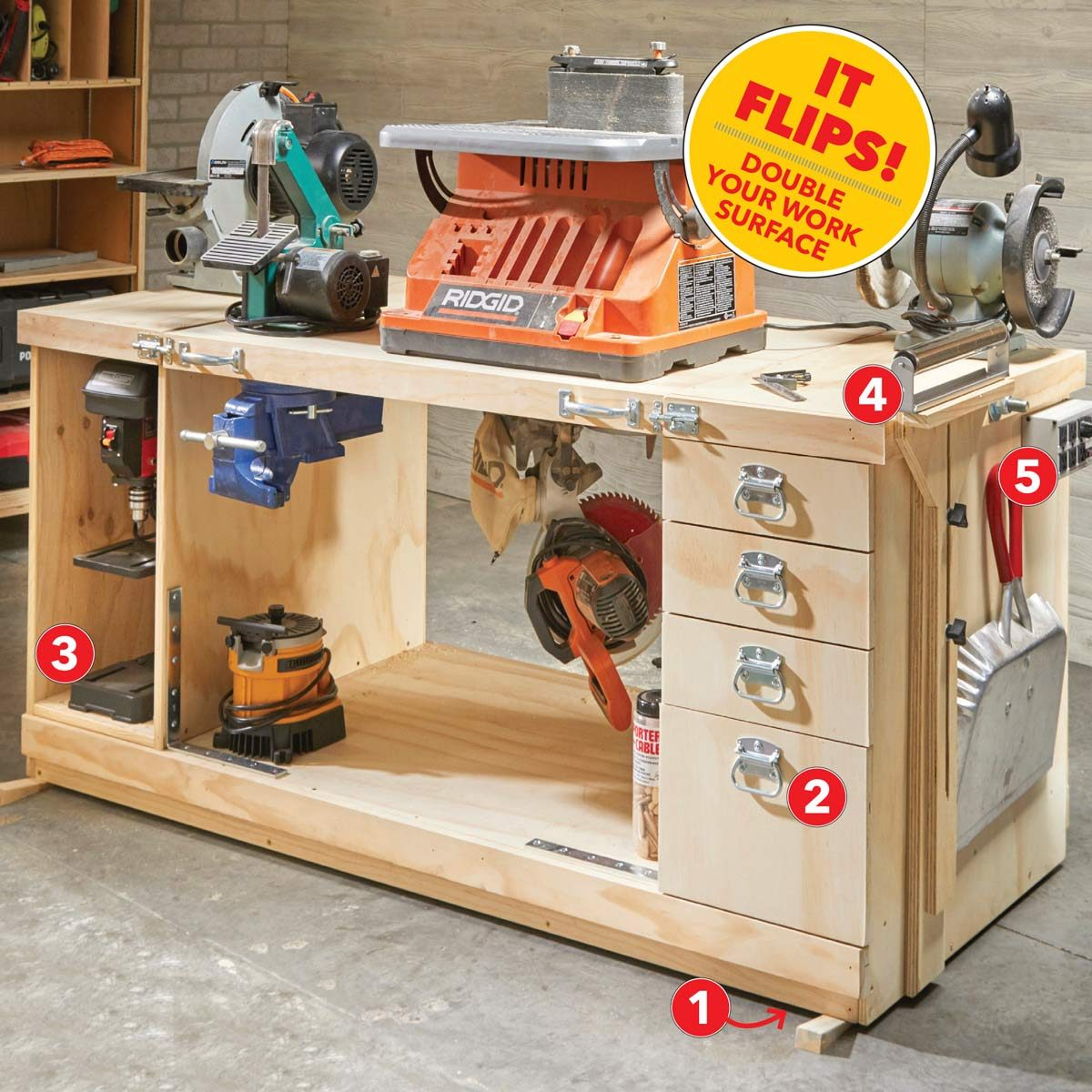 Diy Workbench With Wheels 14 Super Simple Workbenches You Can Build The Family Handyman
