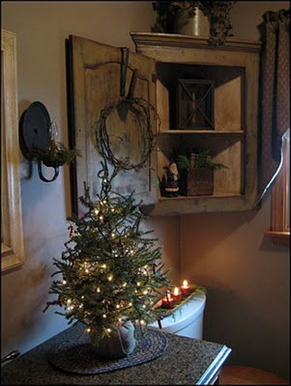 Bathroom Cabinet Corner Wooden 50 Festive Bathroom Decorating Ideas For Christmas