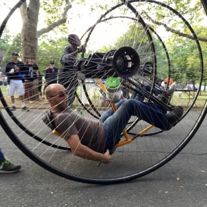Maker Faire, Cirque Amongus, crazy fun bike